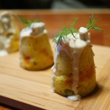 One of the dishes, the Sweet Potato Stuffed Corn Bread with Bacon Dressing, really caught my eye, so I asked Chef Gill to walk me through the steps.