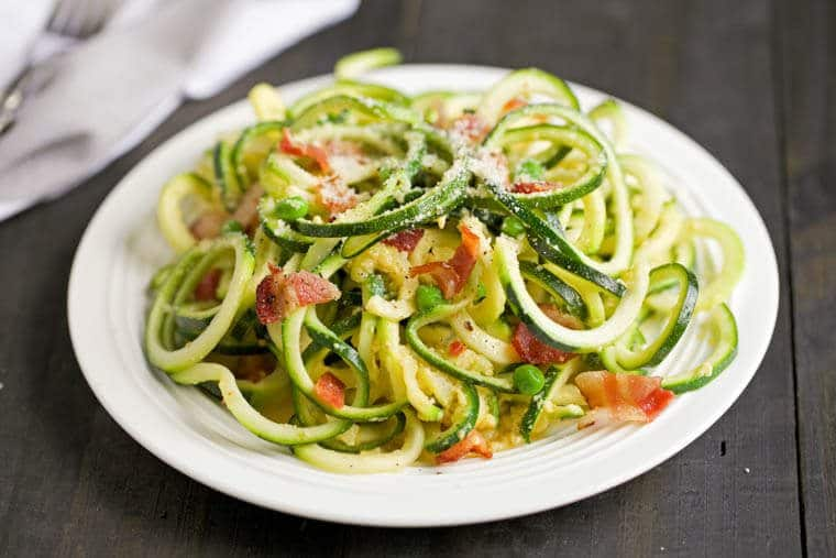 Zucchini carbonara on a white plate.