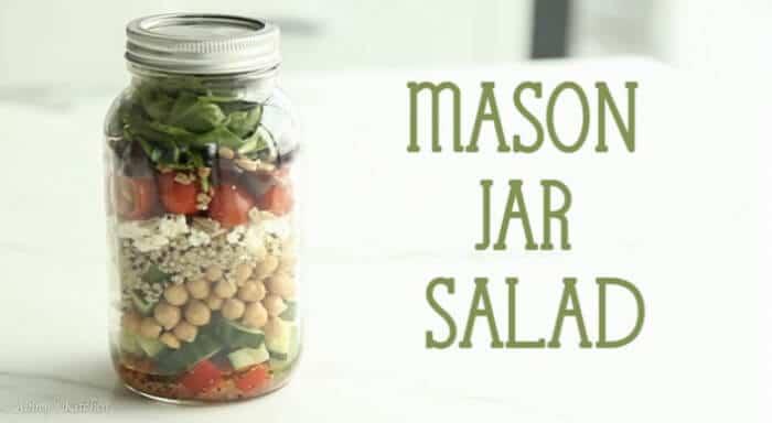 """A salad in a jar with text overlay \""""Mason Jar Salad.\"""""""