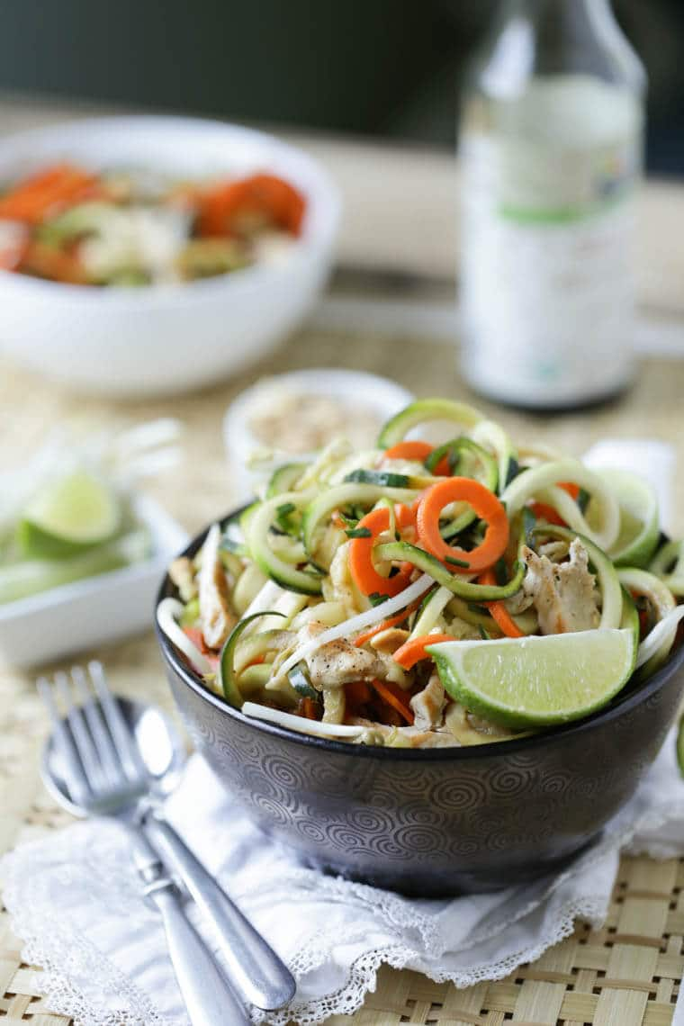 A bowl of low carb pad thai made with zoodles.