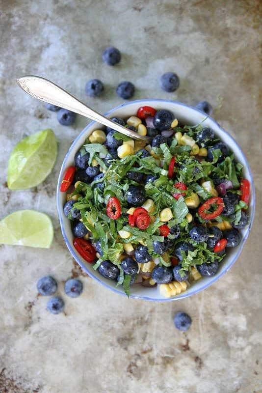 Blueberry Corn Basil Salad