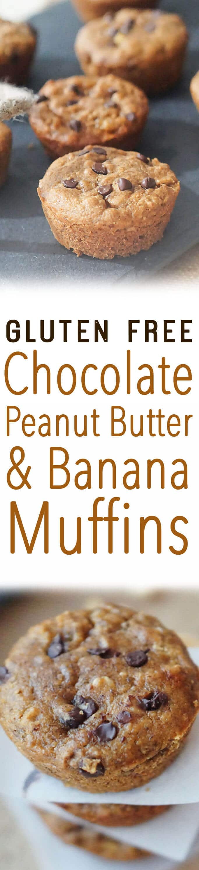 "A pinterest image of muffins with text overlay ""Gluten Free Chocolate Peanut Butter & Banana Muffins.\"""