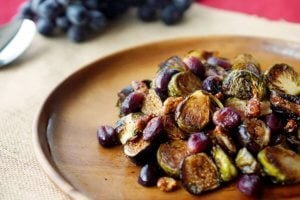 These Balsamic Roasted Brussel Sprouts with Grapes & Figs will make a perfect healthy Holiday side dish for Thanksgiving or Christmas.