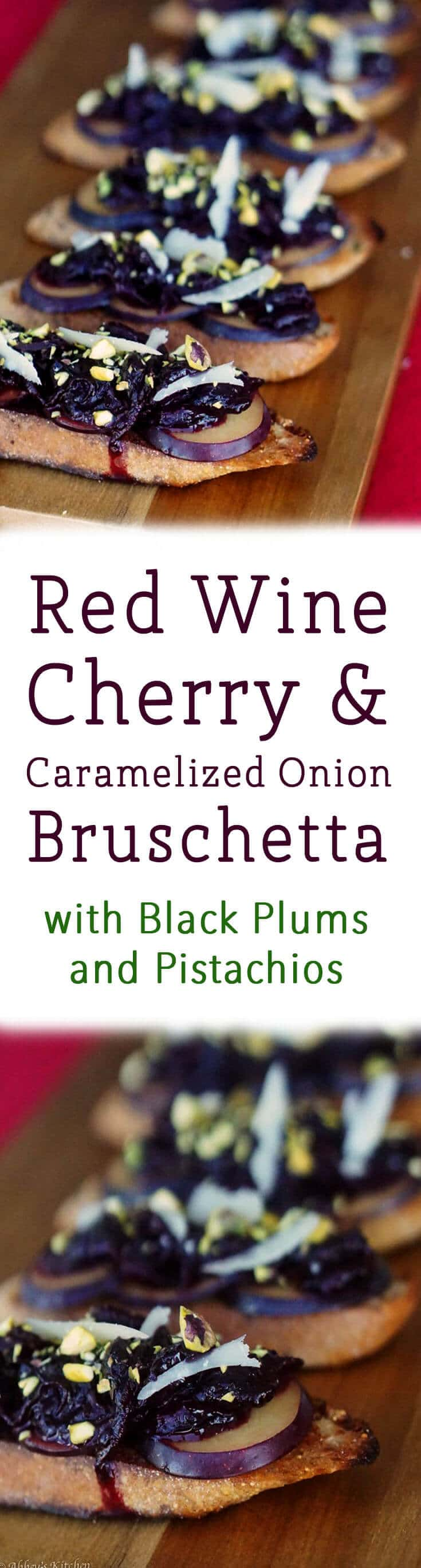 This Healthy Red Wine Cherry and Caramelized Bruschetta recipe is a delicious cocktail party snack!