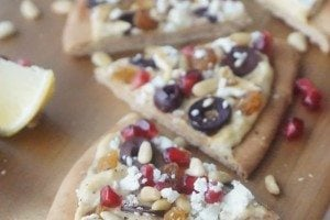 Hummus Pizza Vegetarian Flatbread with Pomegranate & Feta
