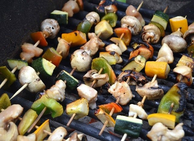 Chicken kebabs on a grilling pan.