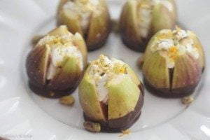 Valentine's Day Dark Chocolate Dipped Figs with Chevre Filling