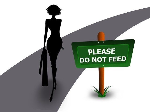 "A cartoon image of a woman on a road with the sign ""Please Do Not Feed.\"""