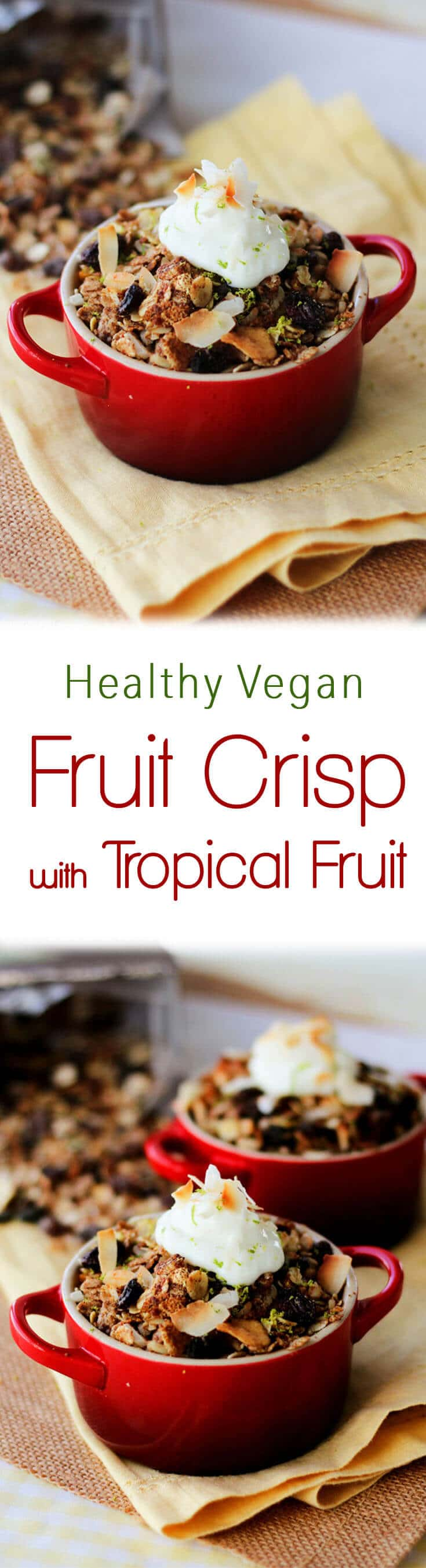 This Vegan Tropical Fruit Crisp is my healthy take on the classic Fall dessert!