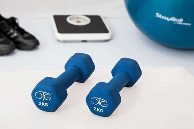 two blue dumbbells