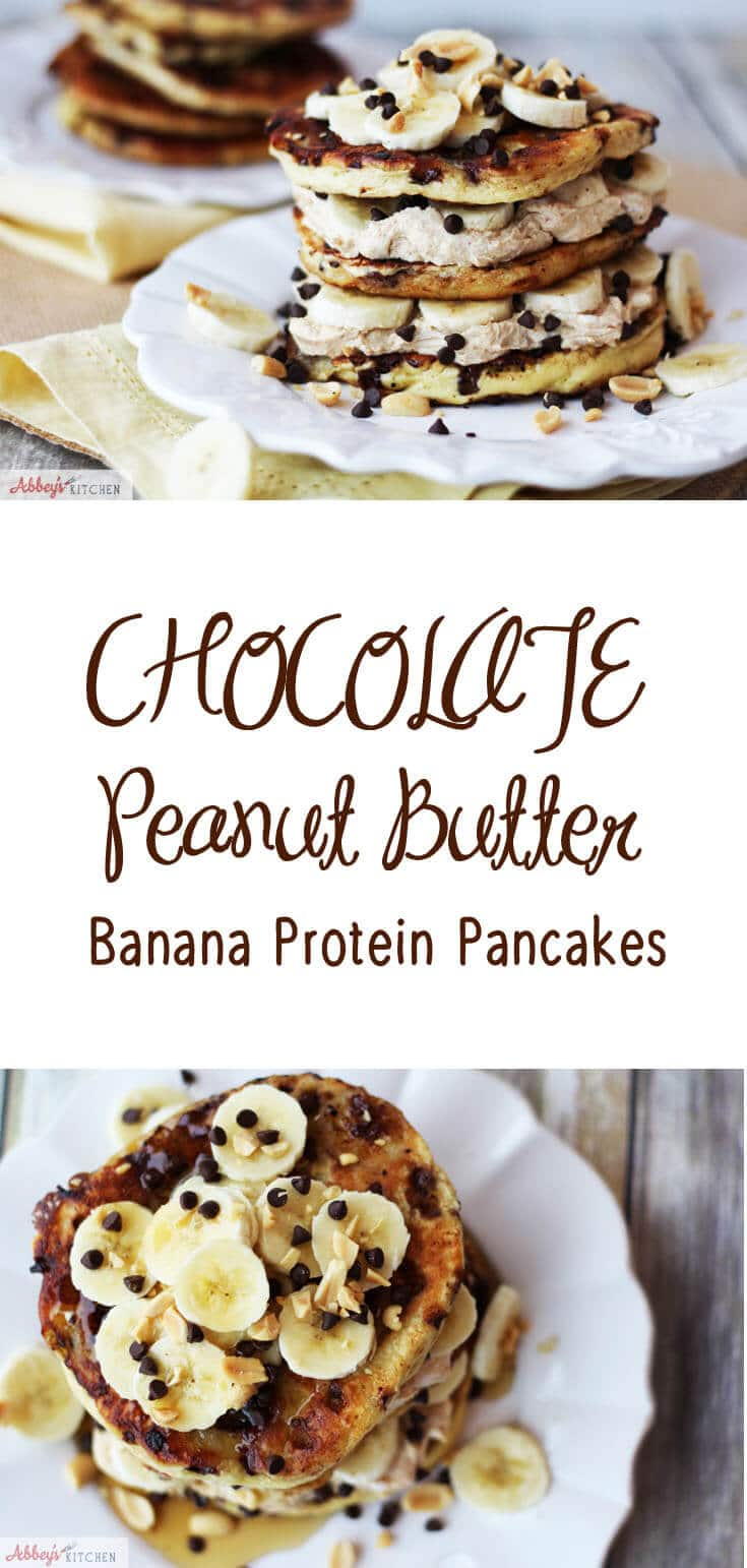 Try my easy, healthy, high protein chocolate peanut butter banana pancakes for a balanced breakfast. #peanutbutter #pancakes #healthyrecipe #healthybreakfast #highprotein #chocolate #banana #protein