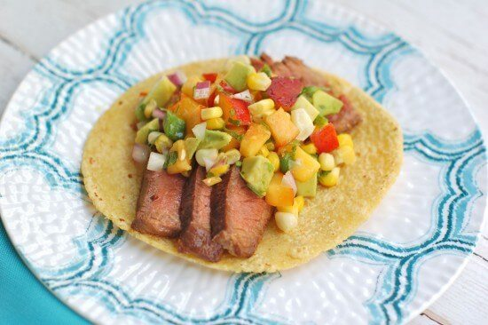 Nutritcioulicious - steak tacos with nectarine salsa