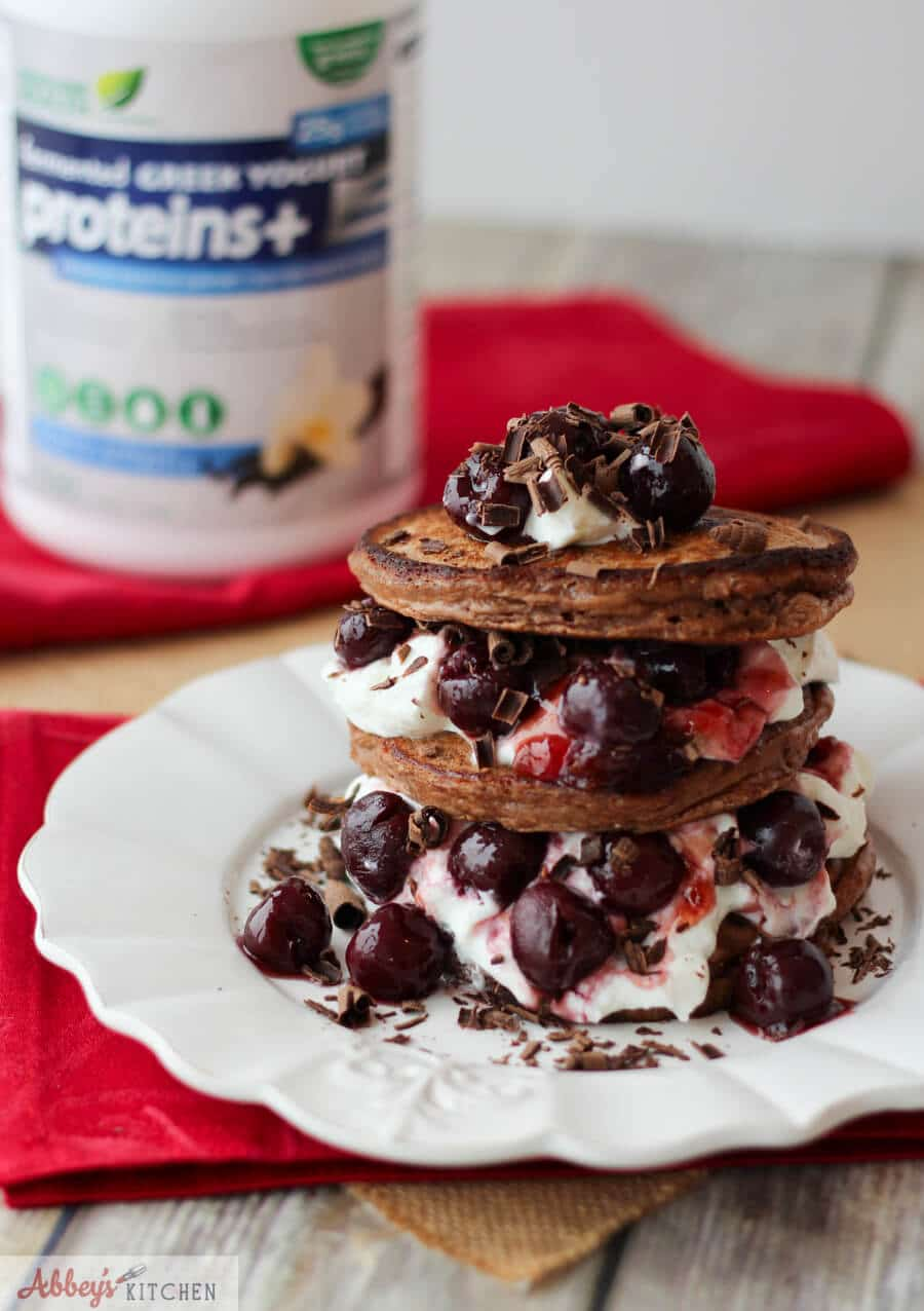 Black Forest Chocolate Protein Pancakes | Gluten Free & Low Fat