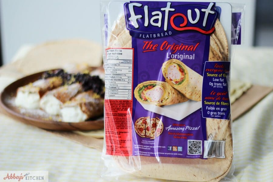 A bag of flatout flatbread.