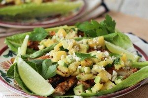 Chipotle Chicken Lettuce Tacos with Avocado Pineapple Salsa