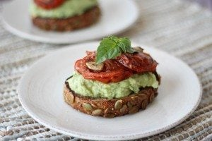 High Protein Avocado Toast with White Beans & Roasted Tomatoes | Gluten Free & Vegan
