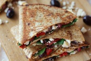 Hummus Quesadilla with Pomegranate & Feta | Low Fat & Vegetarian