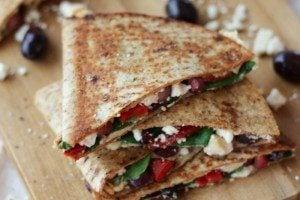 Hummus Quesadilla with Pomegranate & Feta | Low Fat & Vegetarian