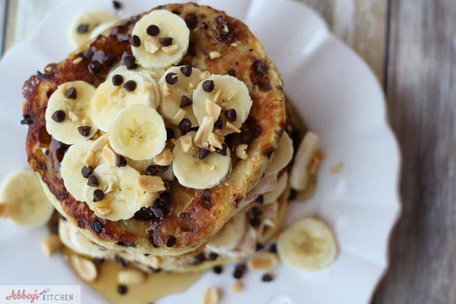 Overhead photo of banana protein pancakes.