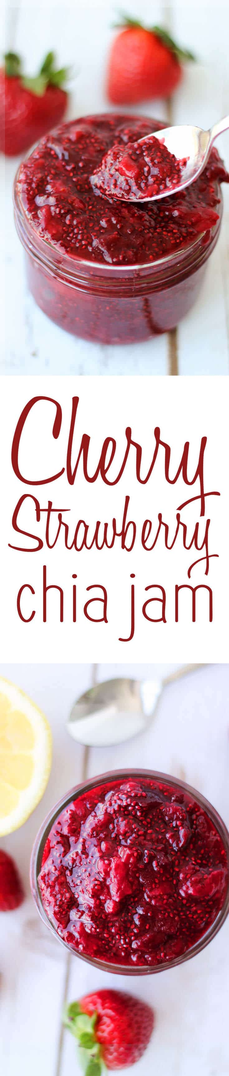 Start your day with my low sugar, cherry strawberry chia jam #diy #healthyrecipes #easyrecipes #chiajam #lowsugar #