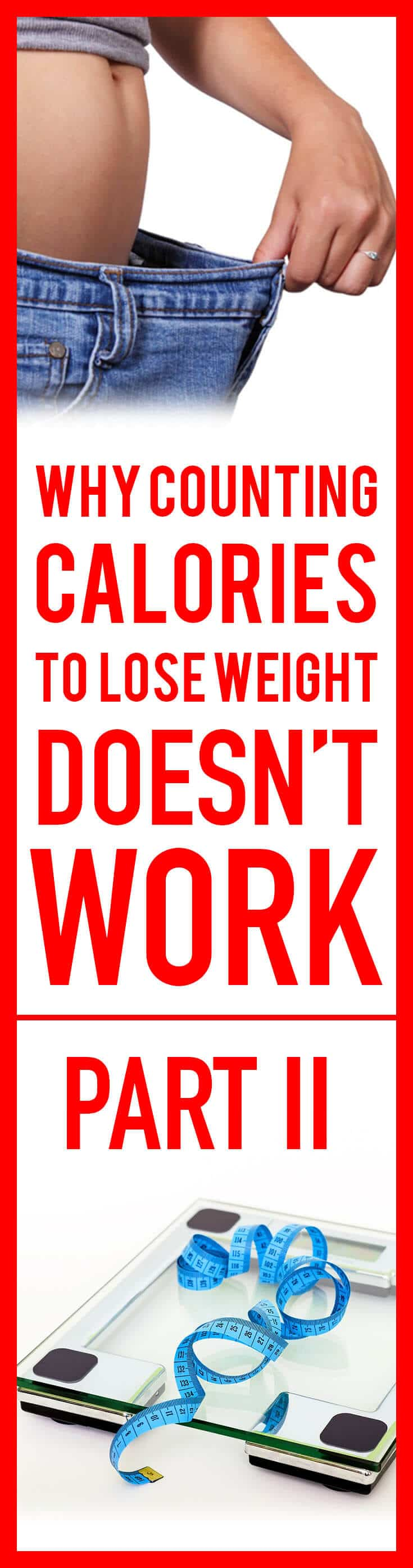 "A pinterest image of weight loss images with the text overlay ""Why Counting Calories To Lose Weight Doesn\'t Work Part II.\"""
