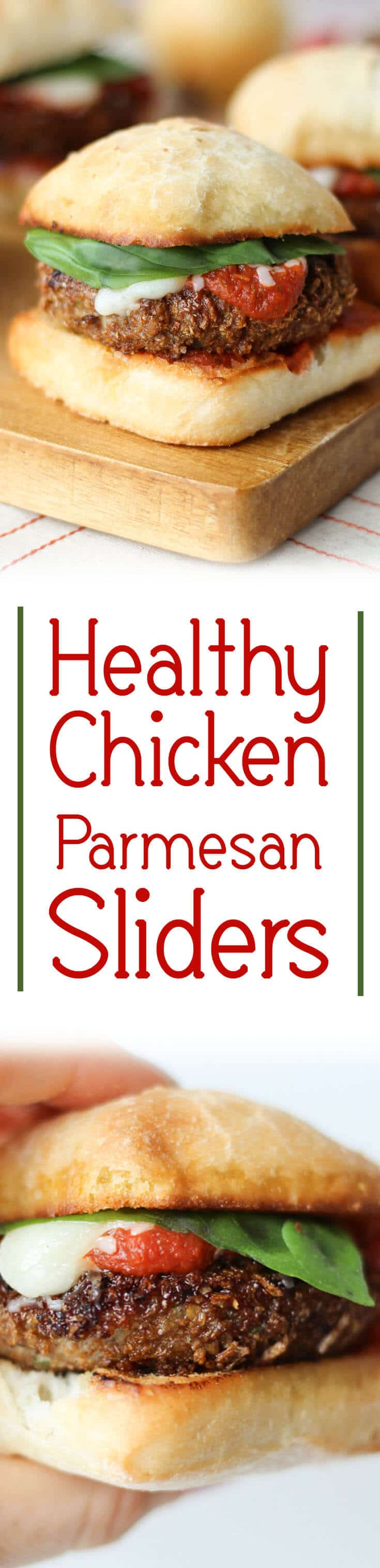 "A pinterest image of chicken sliders with the text overlay ""Healthy Chicken Parmesan Sliders.\"""
