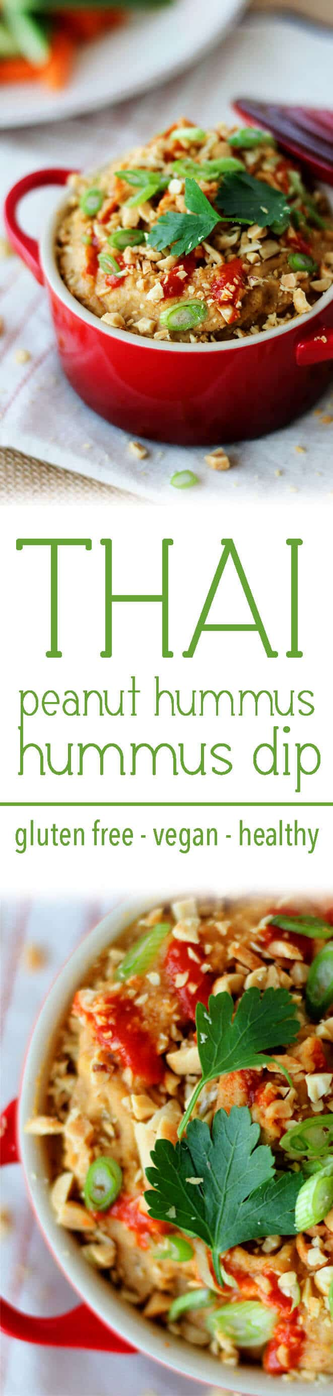 "A pinterest image of a dip in a bowl with the text overlay ""THAI peanut hummus hummus dip gluten free - vegan - healthy.\"""