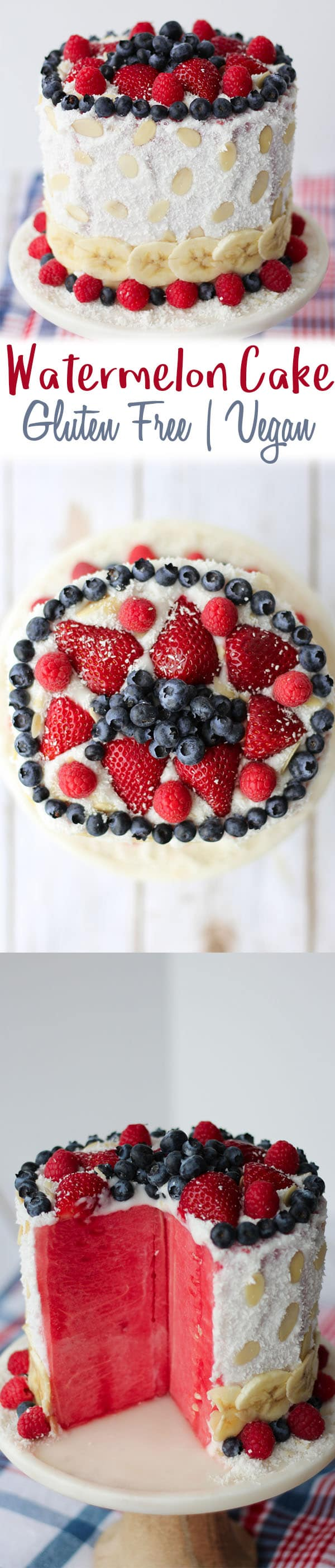 For all my American friends, this red, white and blue Vegan Watermelon Cake will be the healthiest dessert at your 4th of July party.