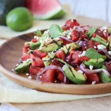 grilled avocado and watermelon salad
