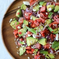 This Grilled Watermelon and Avocado Salad with lime vinaigrette and feta cheese will become a staple at your Father's Day BBQ.
