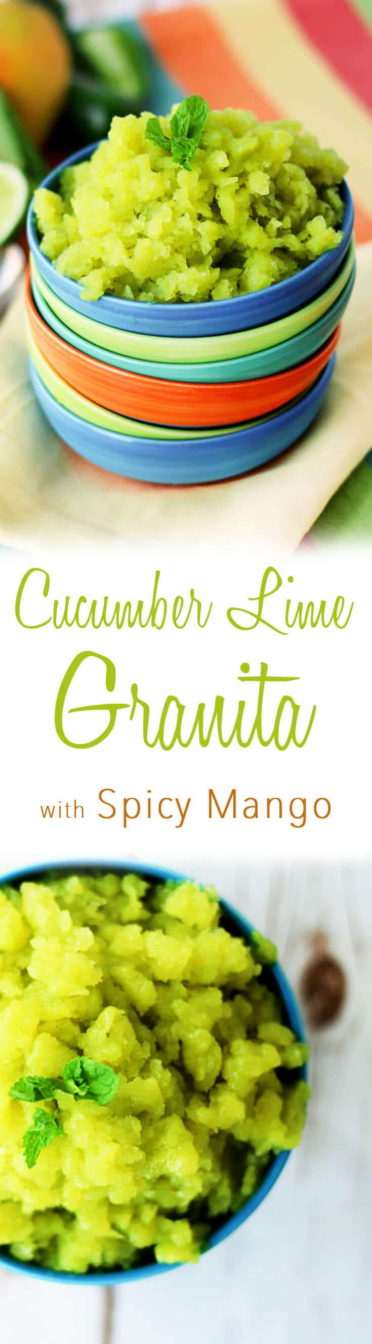 This cucumber lime granita with spicy mango kick is totally vegan, gluten free and a total refresher on a hot Summer day.