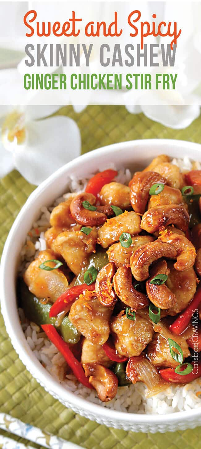A close up of a white bowl with caramelized cashew chicken stir fry.
