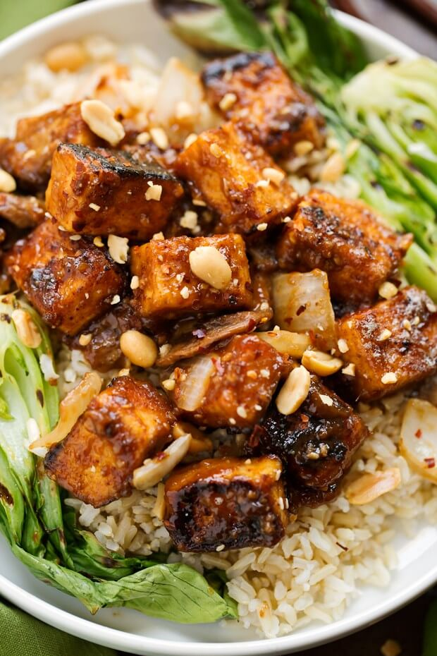A close up of spicy peanut tofu.