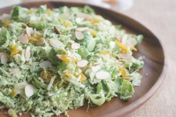 Brussels sprout slaw with beer pesto