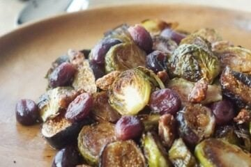 healthy brussels sprouts with grapes and figs
