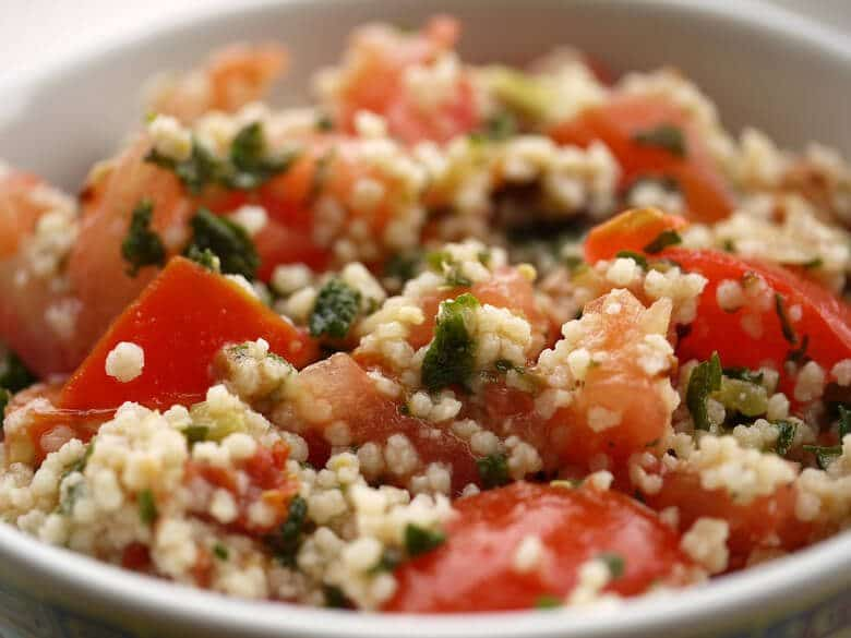 A close up of a couscous salad.