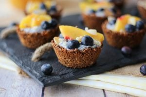 Vegan Chia Pudding Granola Cups with Peaches & Blueberries