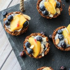 Overhead photo of multiple chia pudding granola cups.