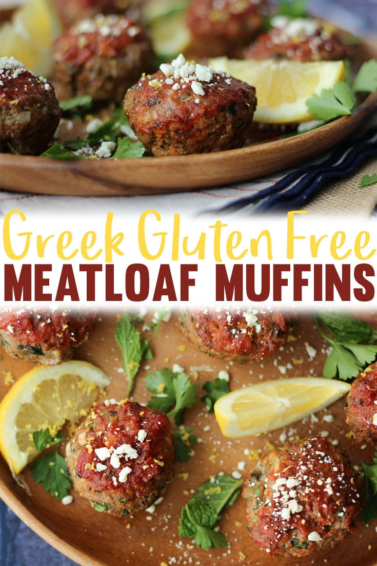 These cute Greek Gluten Free Meatloaf Muffins will quickly become your family's go-to meal for crazy weeknights. They're easy to put together and can be made ahead as freezer meals to pull out throughout the week.