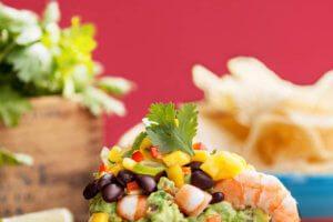 Gluten Free Shrimp Taco Dip with Guacamole, Mango and Mexican Bean Salad