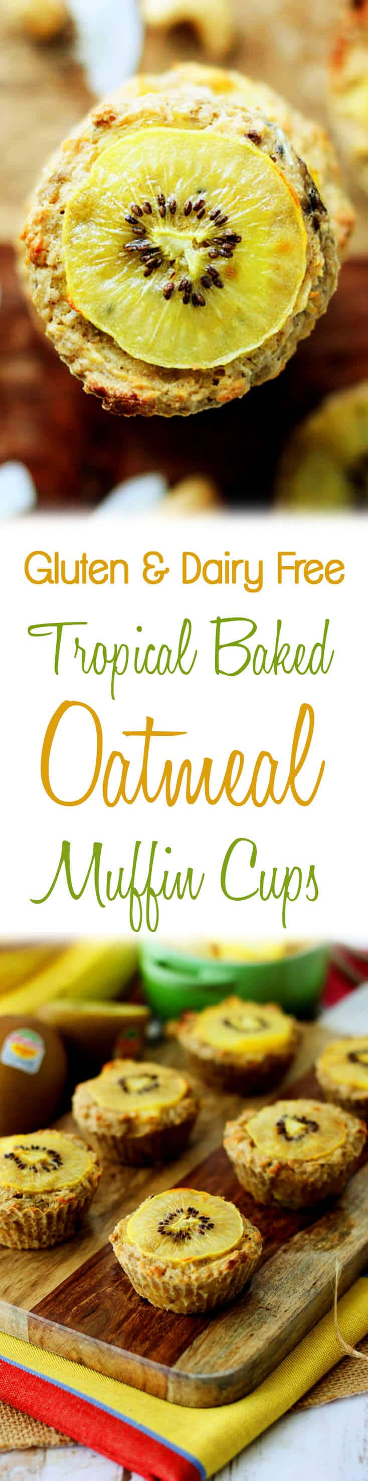 These tropical baked oatmeal muffin cups are gluten free, dairy free and low in fat! The perfect make-ahead on-the-go breakfast!