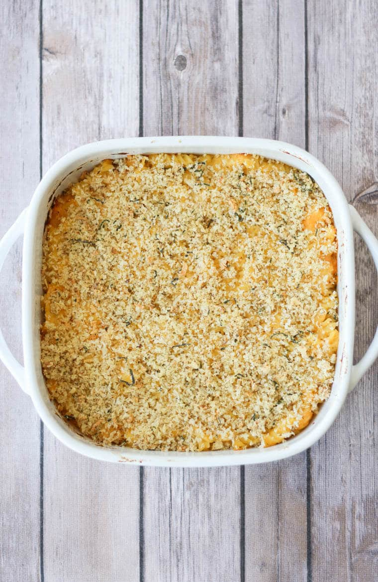 birds eye view of healthy vegetable mac and cheese in a white casserole fish