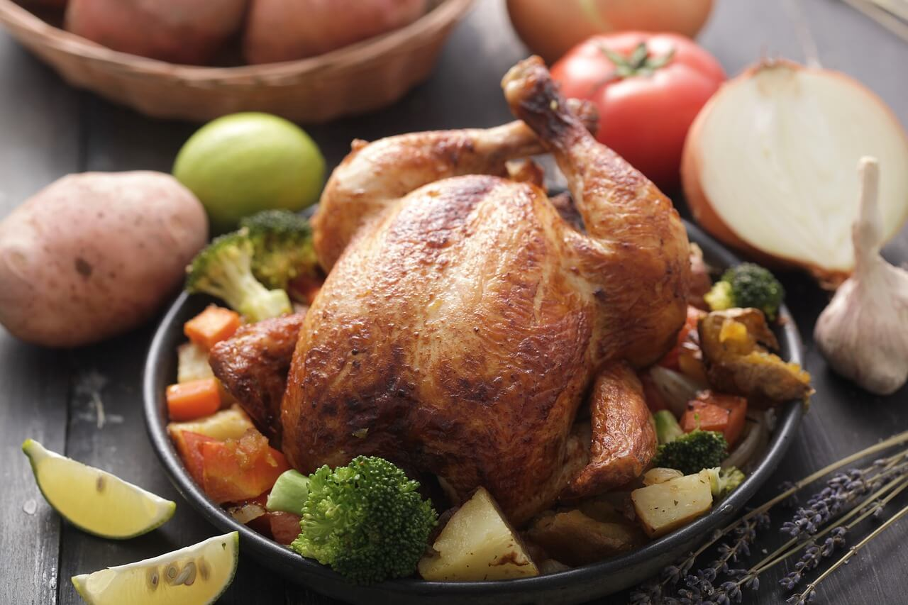 image of a roasted chicken holiday entree