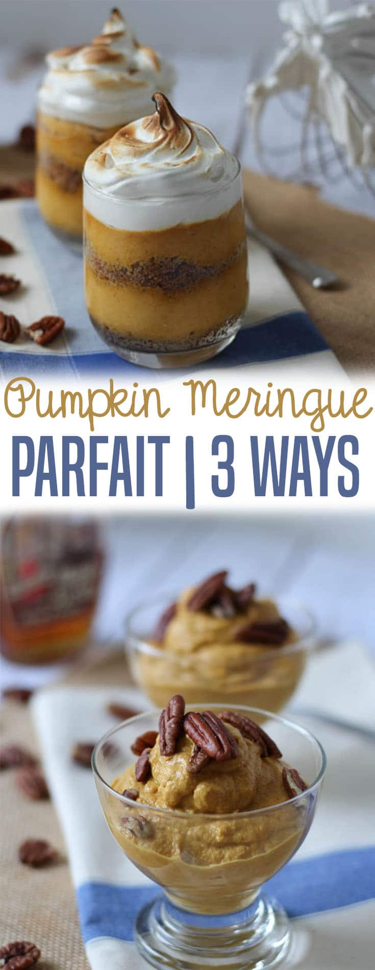 This pumpkin meringue parfait is a delicious dairy free alternative to pumpkin pie that can be made gluten free and vegan for holiday guests!