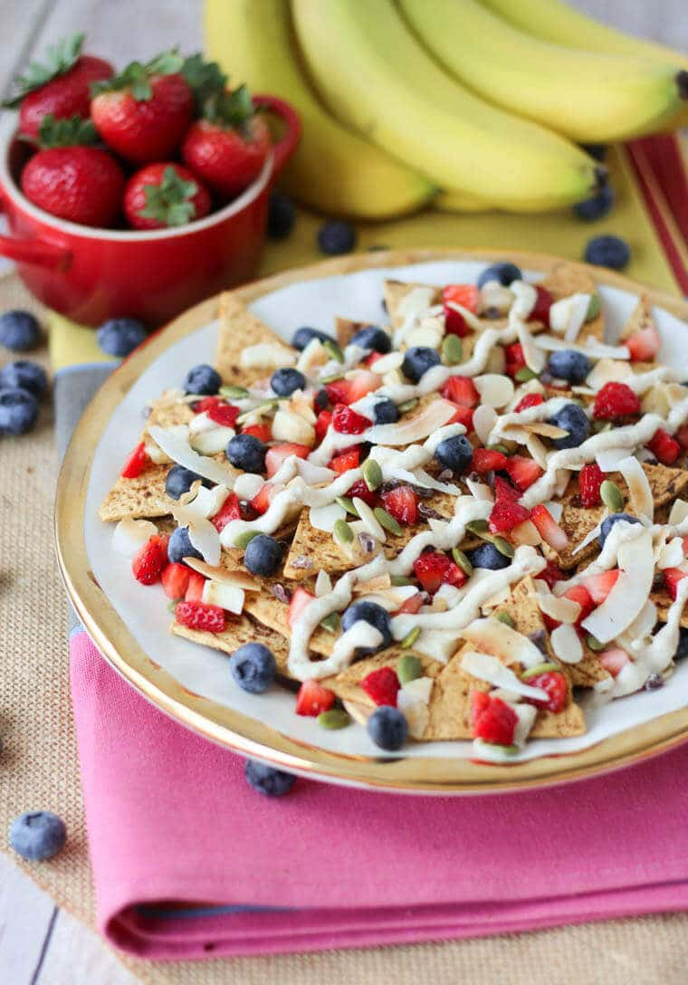 This vegan cheesecake dessert nachos are super delicious and shareable, yet are packed with fibre, protein and healthy fats!