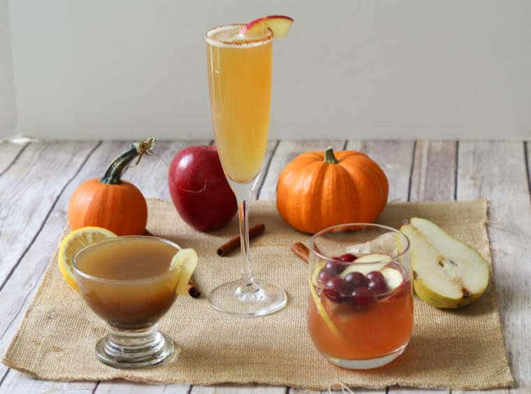 These three healthy fall holiday cocktails are lightened up drinks you won't be able to resist. From Sangria, to Bourbon, to a morning Mimosa, serve these at your next holiday party guilt free!
