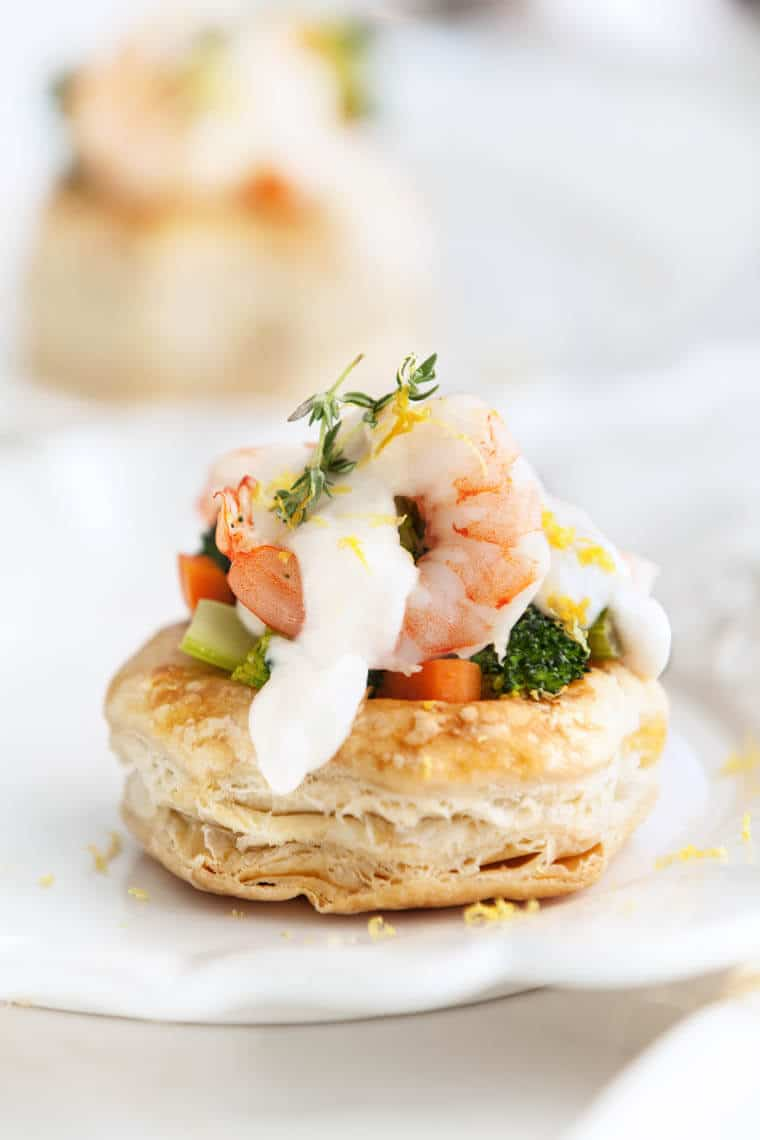 This elegant vol au vent recipe with shrimp and broccoli will make a stunning holiday appetizer for your Thanksgiving or Christmas dinner.