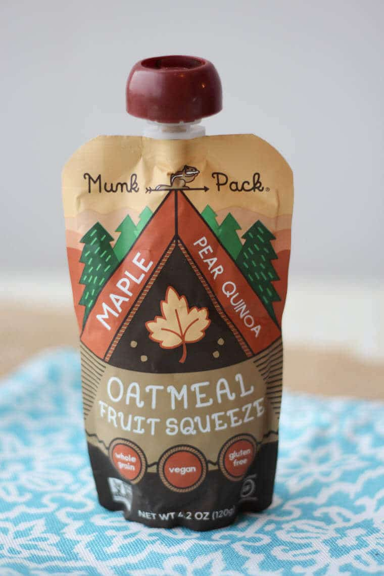 A pack of oatmeal fruit squeeze.