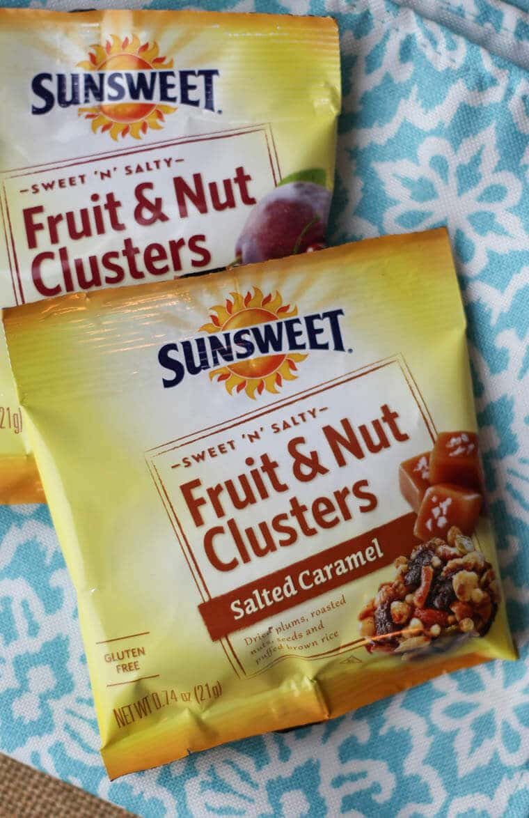 A bag of Sunsweet fruit and nut clusters.