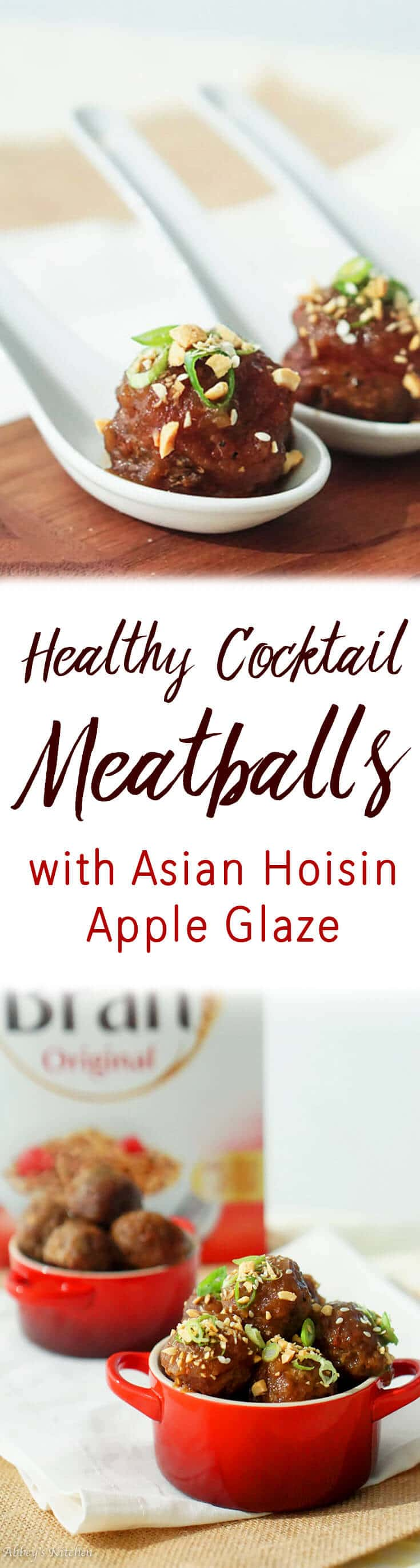 These healthy cocktail meatballs with asian hoisin apple glaze as a lean, high protein, high fibre way to entertain this holiday!